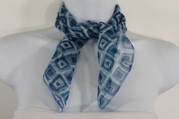 Green Blue Small Neck Scarf Fabric Geometric Square Print Pocket Square New Women Fashion - alwaystyle4you - 2