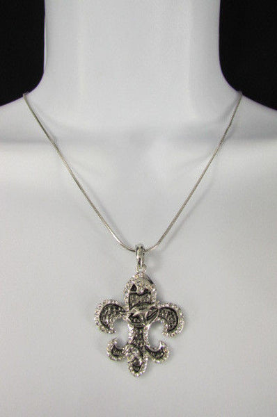 Silver Metal Fleur De Lis Lily Flower Bull Colorfull Rhinestones/ Silver Necklace New Women Fashion - alwaystyle4you - 24