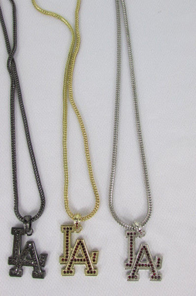 "Gold Silver Pewter Metal Chains 25"" Long Necklace Pewter Big LA Pendant New Men Fashion - alwaystyle4you - 3"