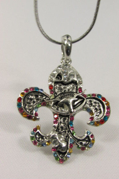 Silver Metal Fleur De Lis Lily Flower Bull Colorfull Rhinestone Necklace Women Accessories