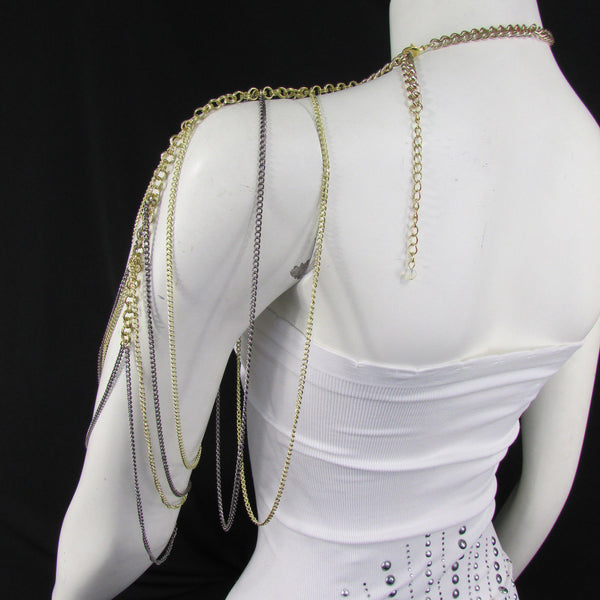 Brand New Women Trendy One Side Body Chain Gold Metal Black Pewter Mesh Chain Necklace Fashion Shoulder Drapes Lady Gaga Women Accessories - alwaystyle4you - 11