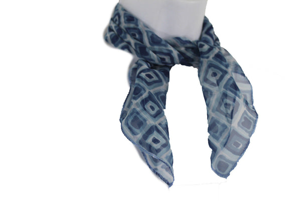 Green Blue Small Neck Scarf Fabric Geometric Square Print Pocket Square New Women Fashion - alwaystyle4you - 5