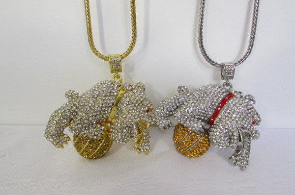 Gold / Silver Metal Chains Long Necklace Large Bulldog Ball New Men Style Fashion - alwaystyle4you - 12