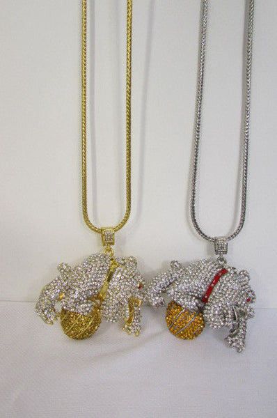 Gold / Silver Metal Chains Long Necklace Large Bulldog Ball New Men Style Fashion - alwaystyle4you - 14