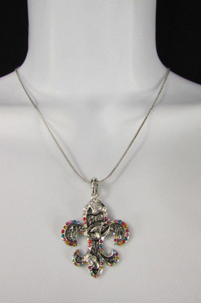 Silver Metal Fleur De Lis Lily Flower Bull Colorfull Rhinestones/ Silver Necklace New Women Fashion - alwaystyle4you - 9
