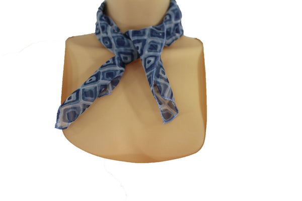 Green Blue Small Neck Scarf Fabric Geometric Square Print Pocket Square New Women Fashion - alwaystyle4you - 10