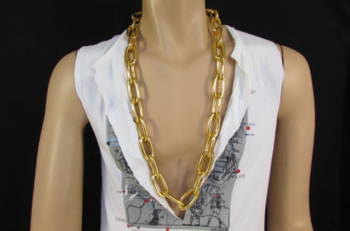 "Chunky Metal Thick Chains 35"" Long Necklace Silver Gold Hip Hop New Men Biker Fashion - alwaystyle4you - 4"