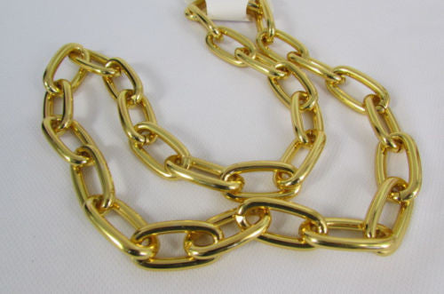 "Chunky Metal Thick Chains 35"" Long Necklace Silver Gold Hip Hop New Men Biker Fashion - alwaystyle4you - 5"