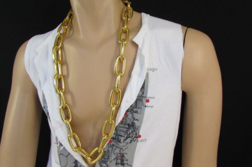 "Chunky Metal Thick Chains 35"" Long Necklace Silver Gold Hip Hop New Men Biker Fashion - alwaystyle4you - 6"