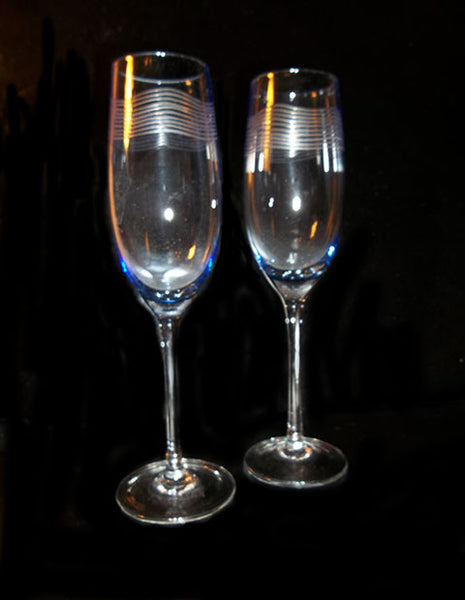 Blue Tinted Etched Flutes - The Other Alley