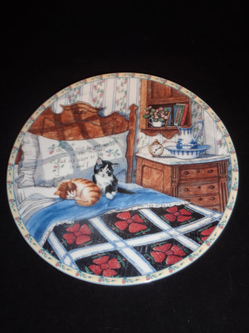 """Sleepyhead Cats"" Knowles Collector Plate"