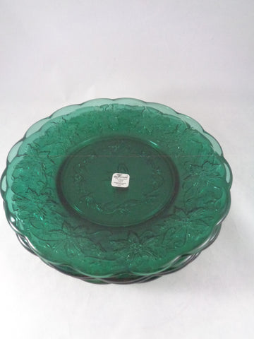 Princess House Emerald Green Fantasia Snack Plates  S/4