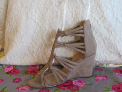 LUNA Taupe Strappy Knotted Wedge Sandal