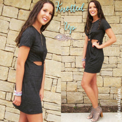 KNOTTED UP Jersey Cutout Knot Dress