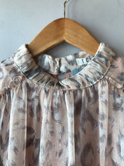 AVERY Leopard Sheer Smocked Neck Top