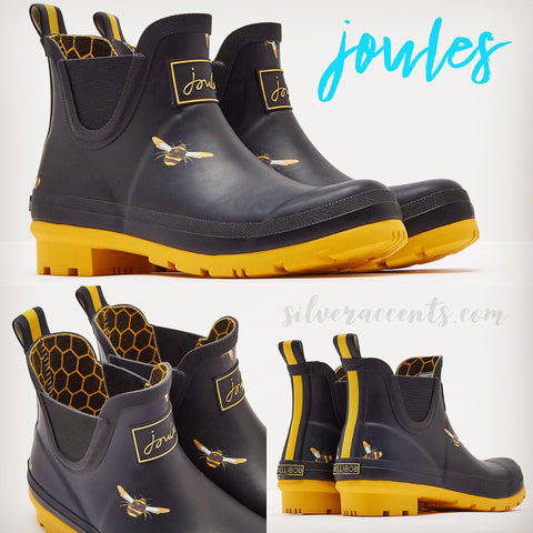 JOULES Black WELLIBOB Metallic Bees Short Rain Boot