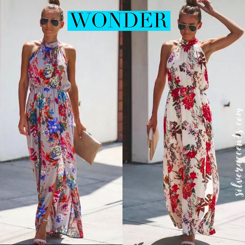 WONDER Floral Mock HalterNeck Slit Maxi Dress