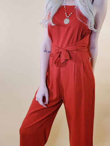 Staci Orange Romper with Front Tie