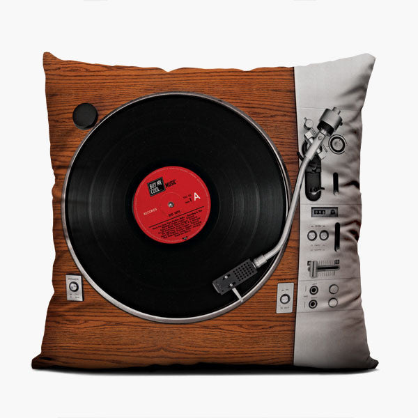 Turntable Wood - Throw Pillow