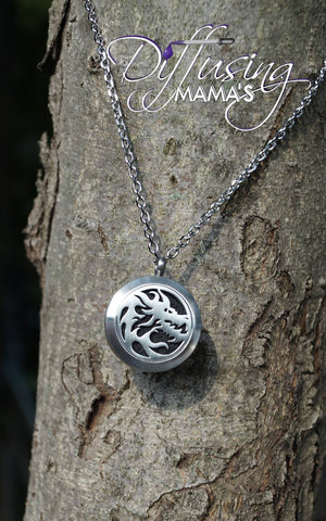 Round Silver Dragon (25mm) Aromatherapy / Essential Oils Diffuser Locket Necklace