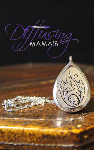 Oil Drop Silver Flower Drop (30x40mm) Aromatherapy / Essential Oils Diffuser Locket Necklace