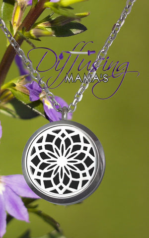 Round Silver New Lotus Flower (30mm) Aromatherapy / Essential Oils Diffuser Locket Necklace