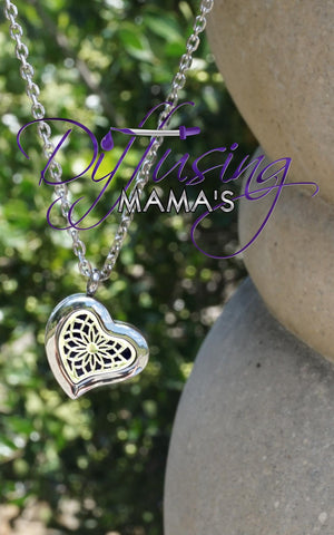 Heart Silver New Lotus Flower (22mm) Aromatherapy / Essential Oils Diffuser Locket Necklace