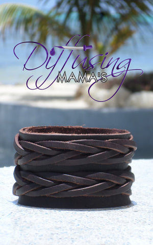Dark Brown Double Braided Genuine Leather Essential Oils / Aromatherapy Bracelets