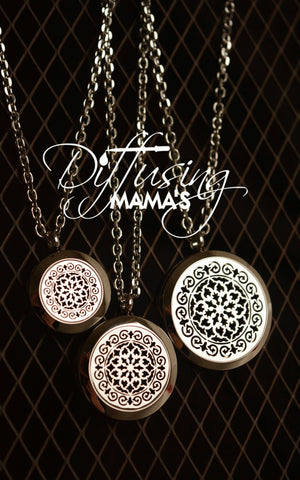 Round Silver Moroccan Aromatherapy / Essential Oils Diffuser Locket Necklace
