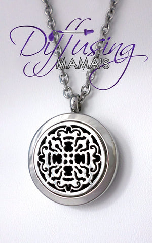 Round Silver Old World Cross (25mm) Aromatherapy / Essential Oils Diffuser Locket Necklace