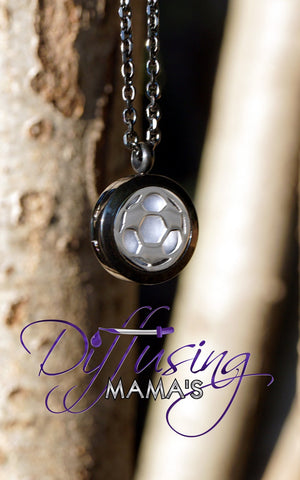 Round Black & Silver Soccer Ball (20mm) Aromatherapy / Essential Oils Diffuser Locket Necklace