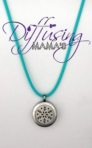 "Round Silver ""Frozen"" Inspired Snowflake (20mm) Aromatherapy / Essential Oils Diffuser Locket Necklace"