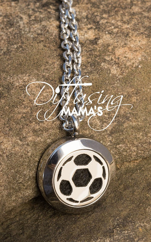 Round Silver Soccer Ball (20mm) Aromatherapy / Essential Oils Diffuser Locket Necklace