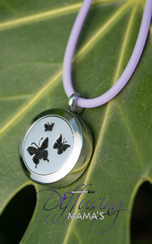 Round Silver Butterflies (20mm) Aromatherapy / Essential Oils Diffuser Locket Necklace