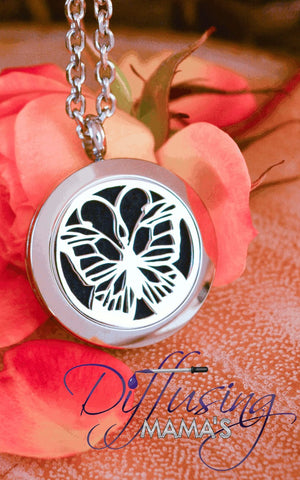 Round Silver Butterfly (25mm) Aromatherapy / Essential Oils Diffuser Locket Necklace