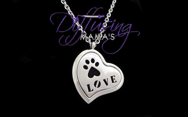 Heart Silver Puppy Love (30mm) Aromatherapy / Essential Oils Diffuser Locket Necklace