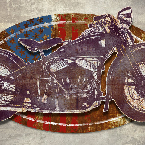 3D MOTORCYCLE METAL WALL ART 48 INCHES BY 30 INCHES