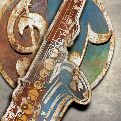BLUES SAX METAL WALL ART 48 INCHES  BY 36  INCHES
