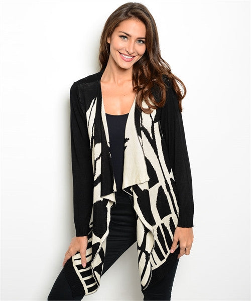 MEDIUM Black and Beige Allie Cardigan