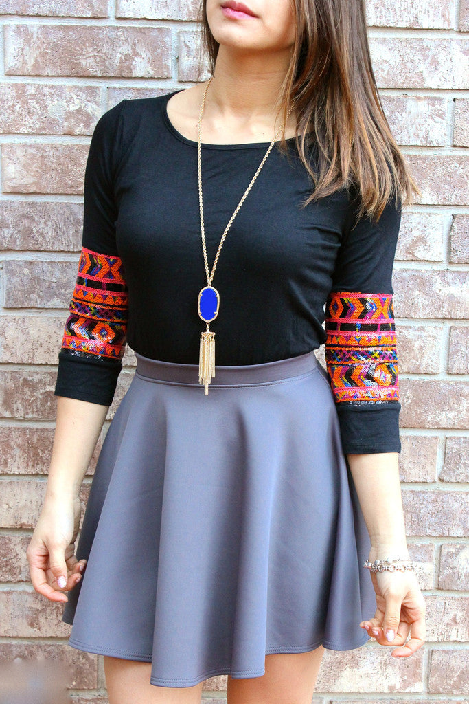 Charcoal Bella Skater Skirt