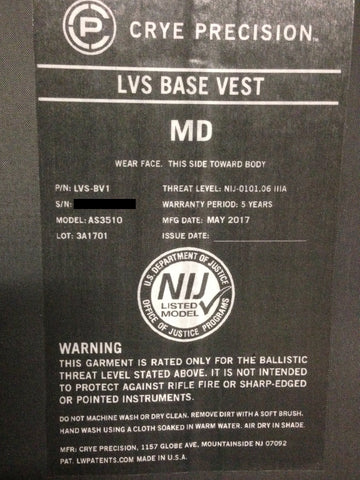 Crye Precision LVS BASE VEST Standard Cut IIIA Soft Body Armor