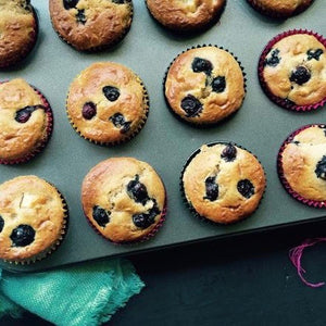 Banana and Pear Muffins with Blueberries