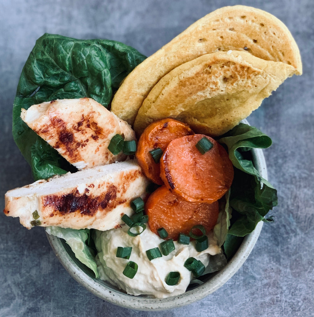 Chicken and Hummus Bowl with Flatbread and Sweet Potato