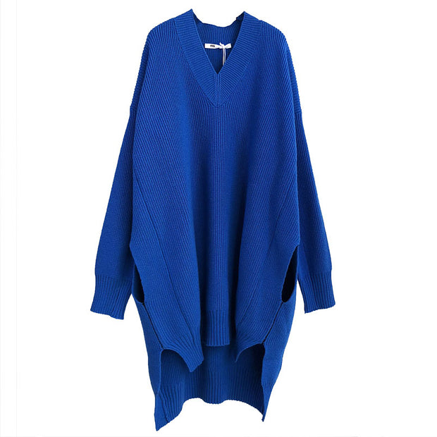 Split High-low Hem Winter Loose Sweater