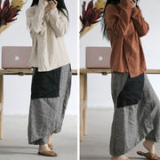 Splicing Loose Lattice Women Baggy Pants - Buykud