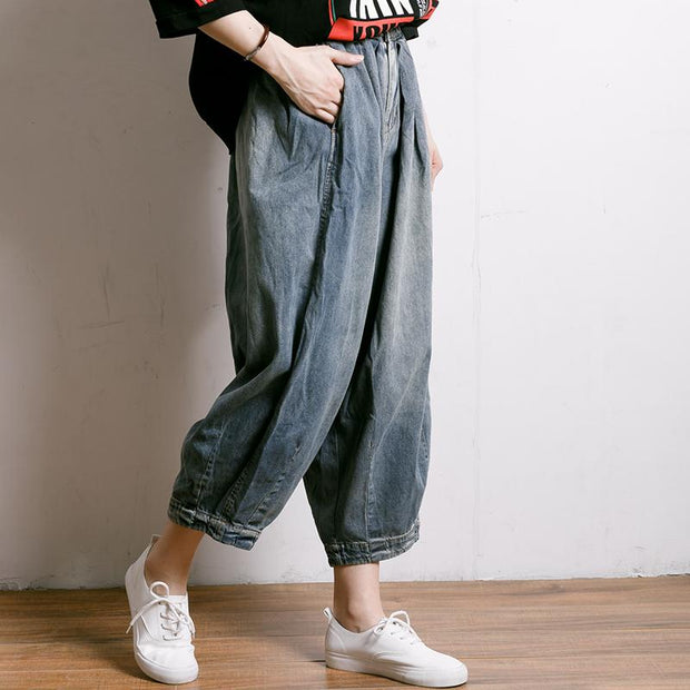 Casual Solid Color Loose Jeans For Women