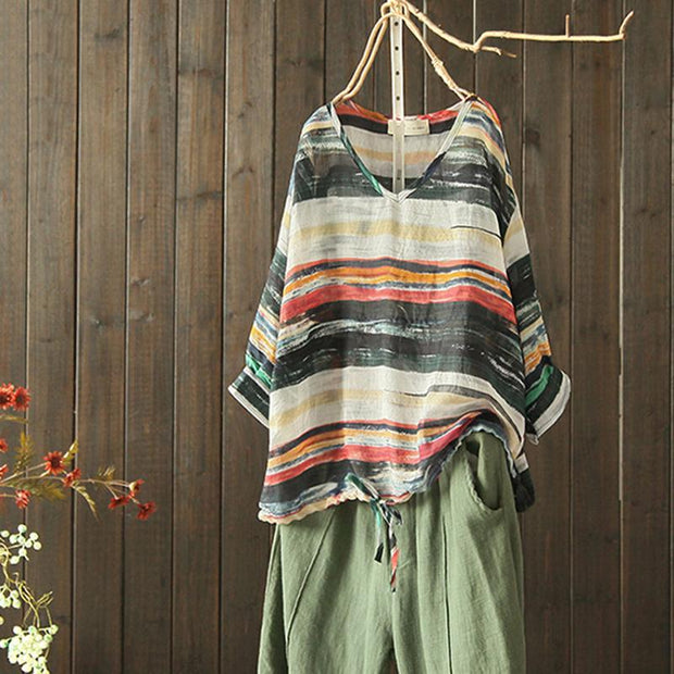 Cotton Linen Retro Striped Long Sleeve Blouse