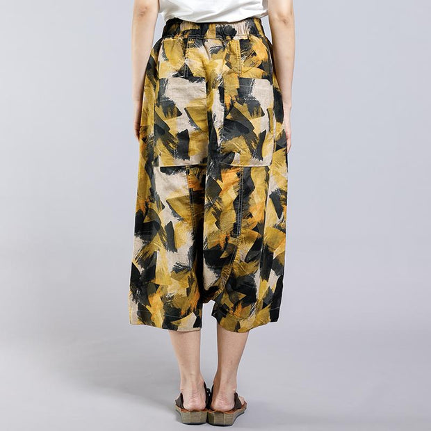 Abstract Printed Casual Loose Cross Pants