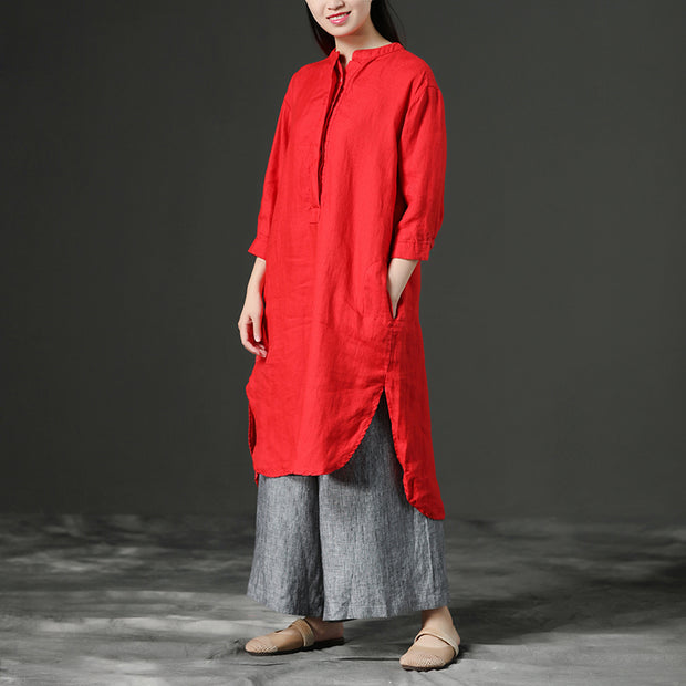 Red Leisure Loose Three-Quarter Casual Dresses For Women