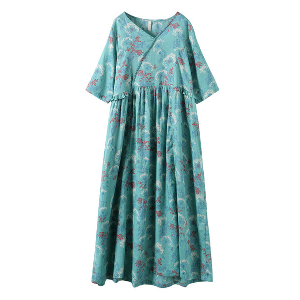 Agaric Lace Plant Printed Casual Loose Dress